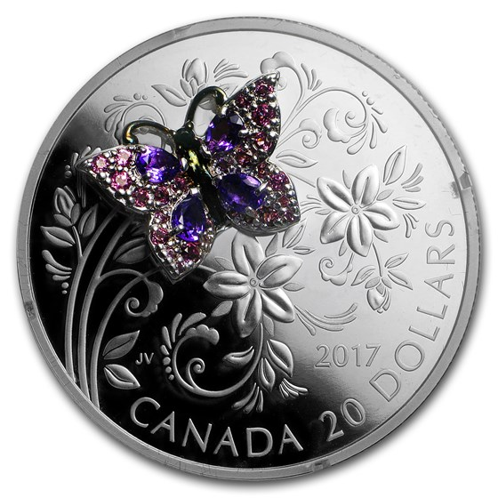 2017 Canada 1 oz Silver $20 Bejeweled Bugs: Butterfly