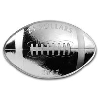 2017 Canada 1 oz Silver $25 Football-Shaped Coin Proof