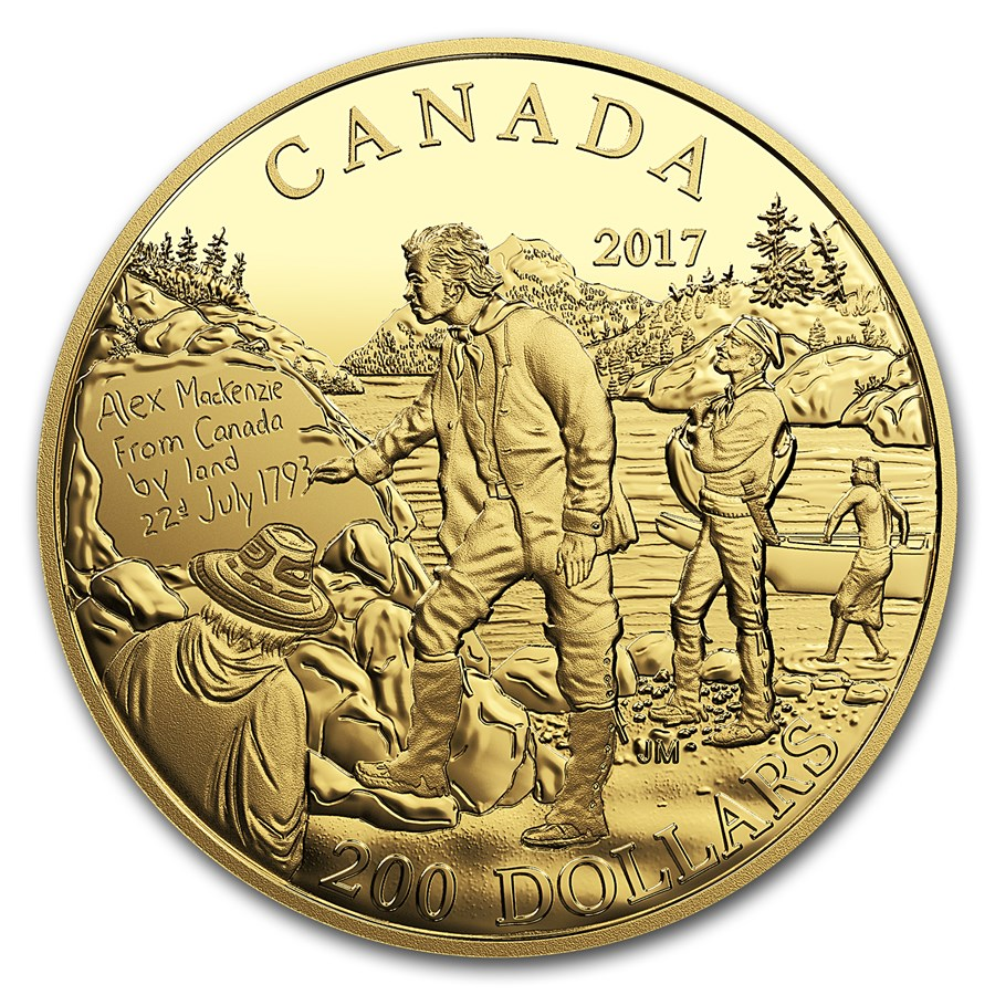 2017 Canada Pf Gold $200 Canadian Explorers Alexander Mackenzie