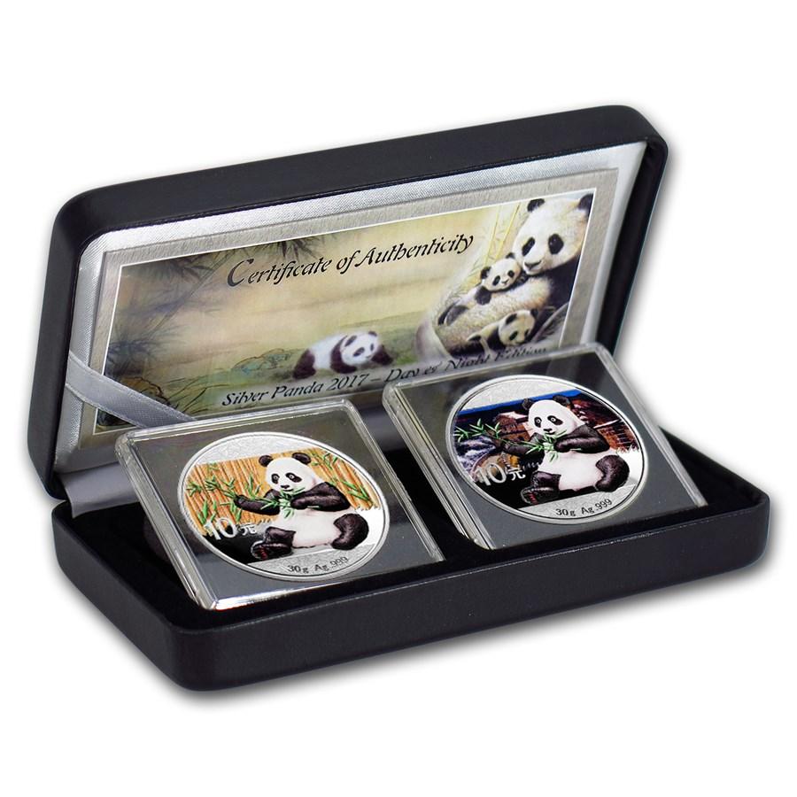 2017 China 2-Coin 30 gram Silver Colorized Panda Day/Night Set