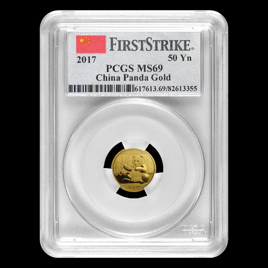 2017 China 3 gram Gold Panda MS-69 PCGS (FirstStrike®)