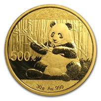 2017 China 30 gram Gold Panda BU (Sealed)