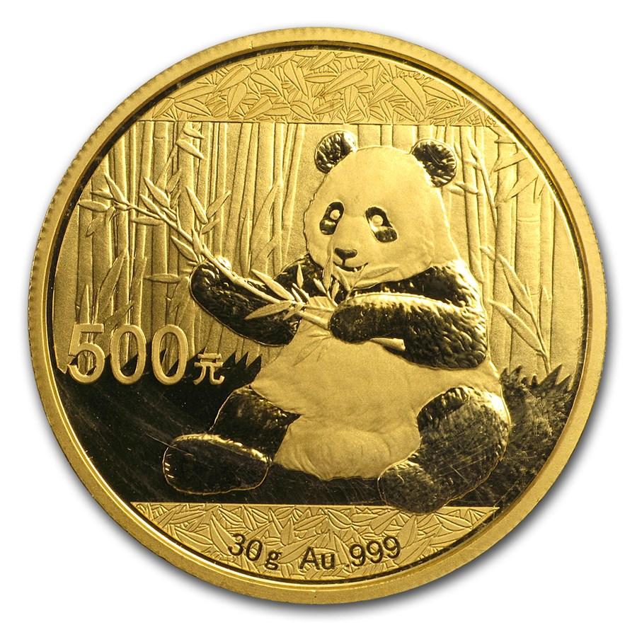 2017 China 30 gram Gold Panda BU (Sealed)