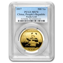 2017 China 30 Gram Gold Panda MS-70 PCGS