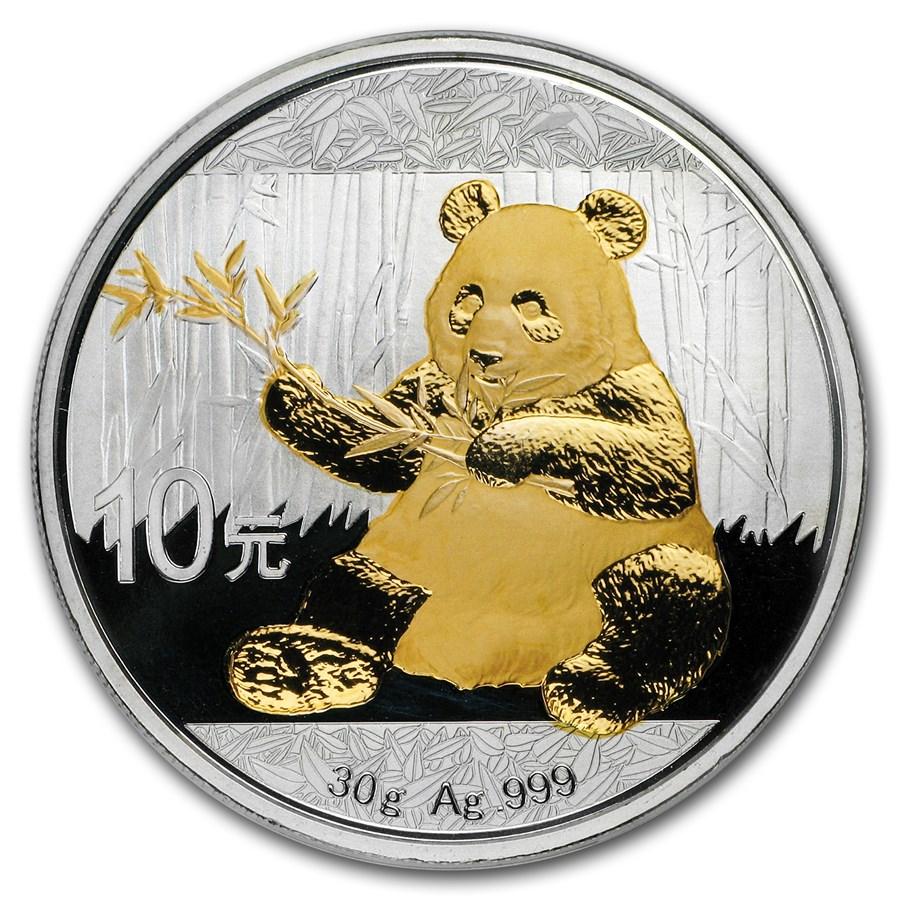 2017 China 30 gram Silver Panda (Gold Gilded)