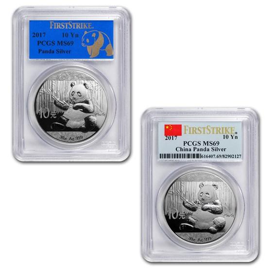 2017 China 30 gram Silver Panda MS-69 PCGS (FirstStrike®)