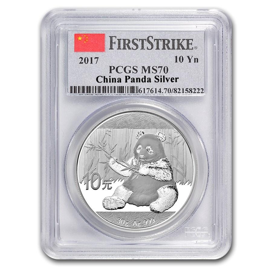 2017 China 30 gram Silver Panda MS-70 PCGS (FirstStrike®)