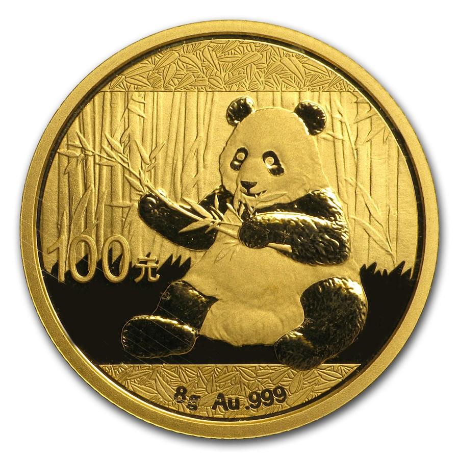 2017 China 8 gram Gold Panda BU (Sealed)