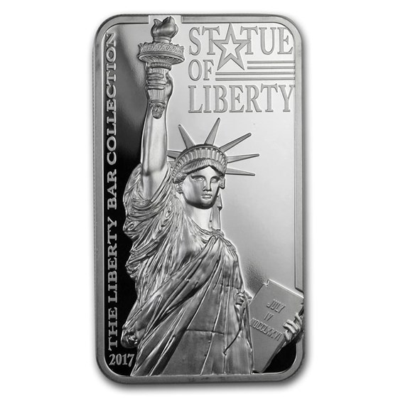 2017 Cook Isl. 2 oz Silver Statue of Liberty Bar Coin Scratch Cap