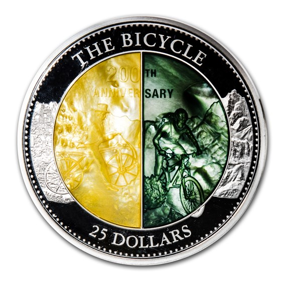 2017 Cook Isl 5 oz Silver Mother of Pearl 200th Anniv of Bicycle