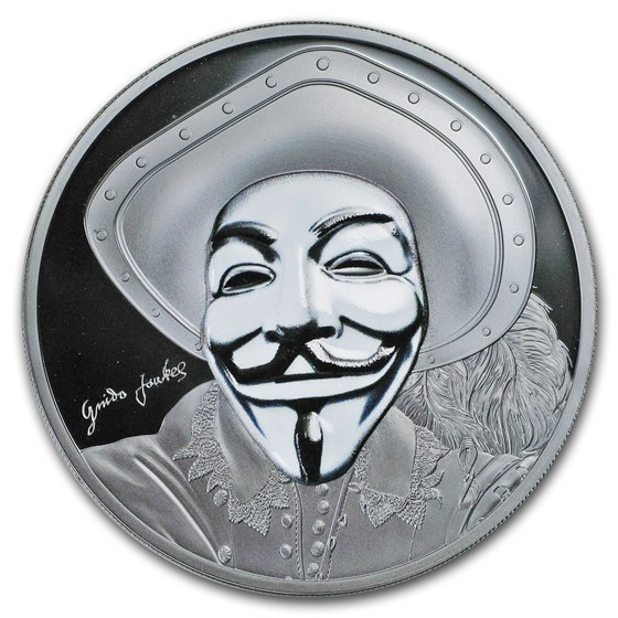 2017 Cook Islands 1 oz Silver $5 Guy Fawkes Mask II