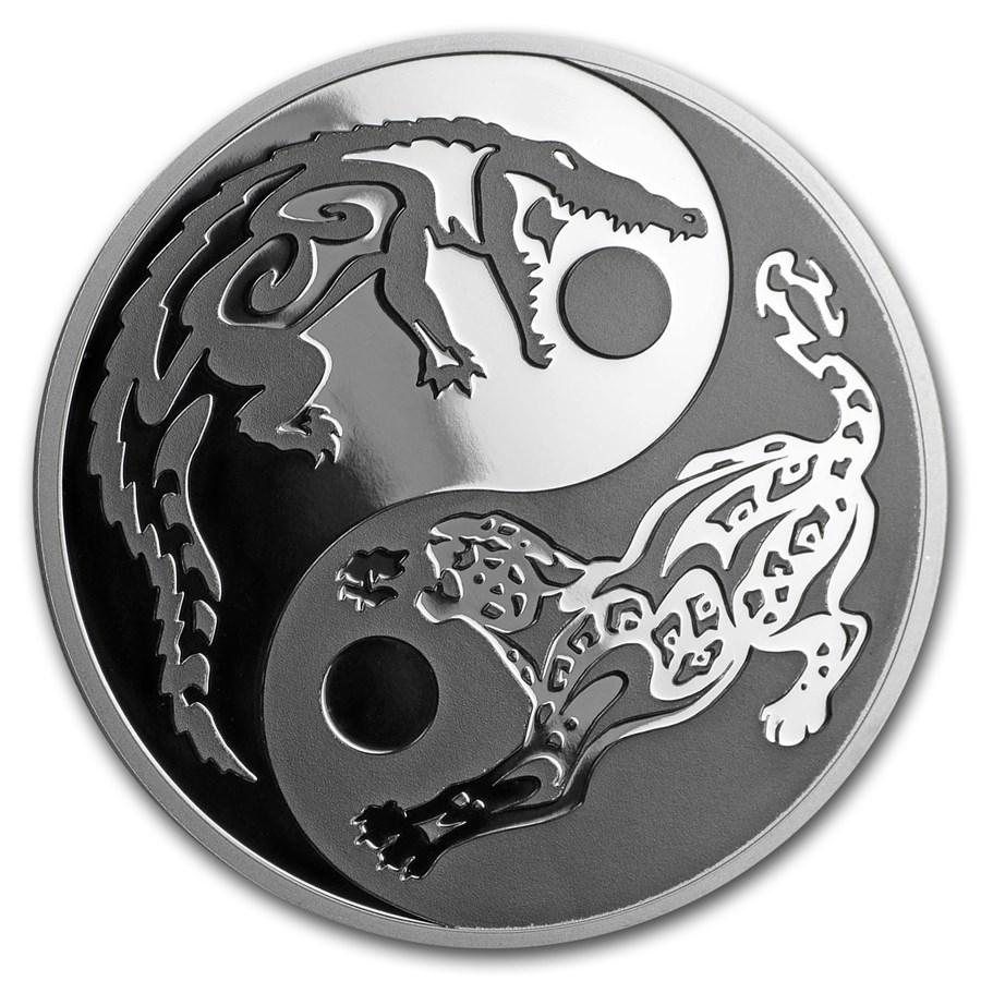 2017 Cook Islands 1 oz Silver Predator Prey (Crocodile-Jaguar)