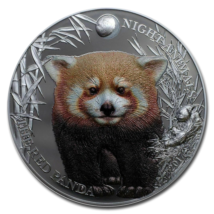 2017 Cook Islands 1 oz Silver Red Panda Black Proof