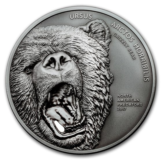 2017 Cook Islands 2 oz North American Predators Grizzly Bear