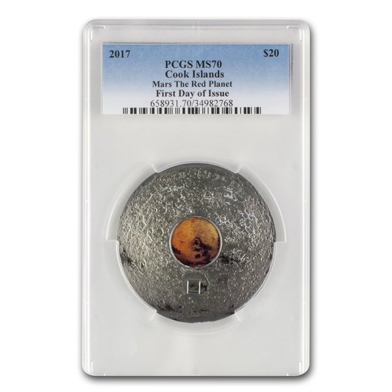 2017 Cook Islands 3 oz Meteorites Mars The Red Planet MS-70 PCGS