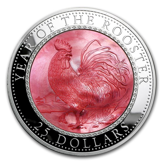 2017 Cook Islands 5 oz Silver Mother of Pearl Year of the Rooster