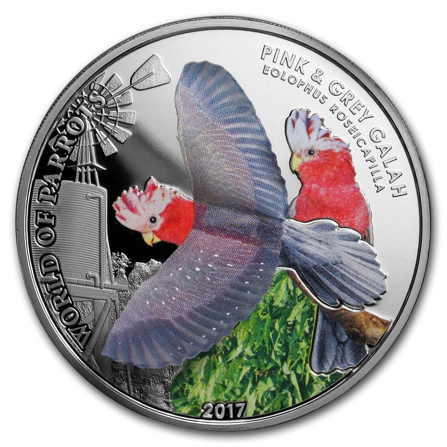 2017 Cook Islands Silver 3D World of Parrots (Pink & Grey Galah)