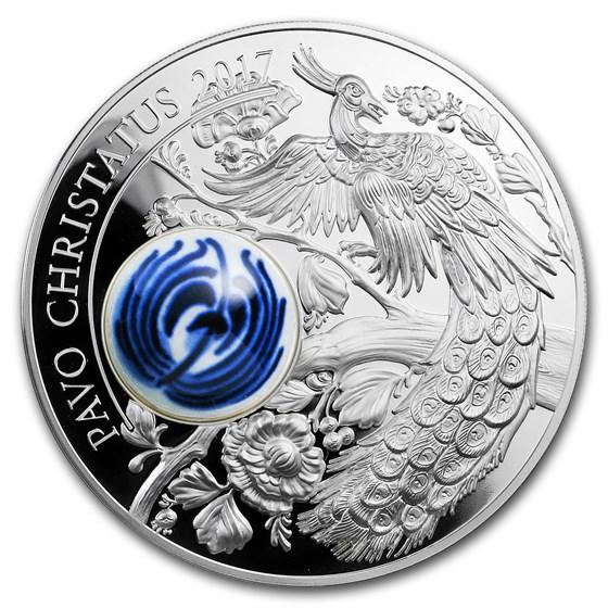2017 Cook Islands Silver Royal Delft™ Peacock (Pavo Cristatus)