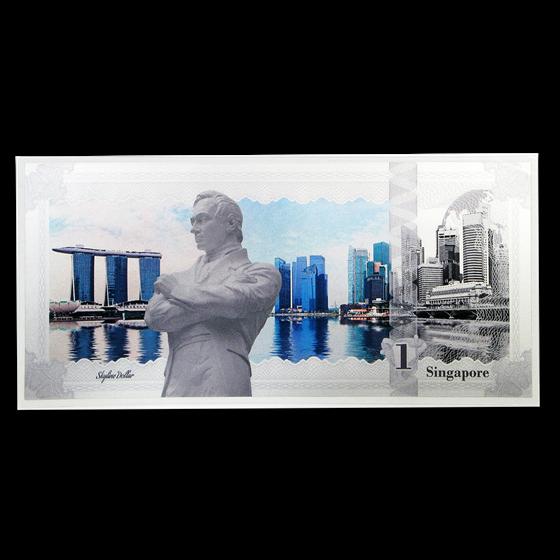 2017 Cook Islands Skyline Dollars Foil Silver Note (Singapore)