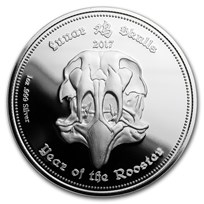 2017 Gabon 1 oz Silver Proof Lunar Skull Year of the Rooster