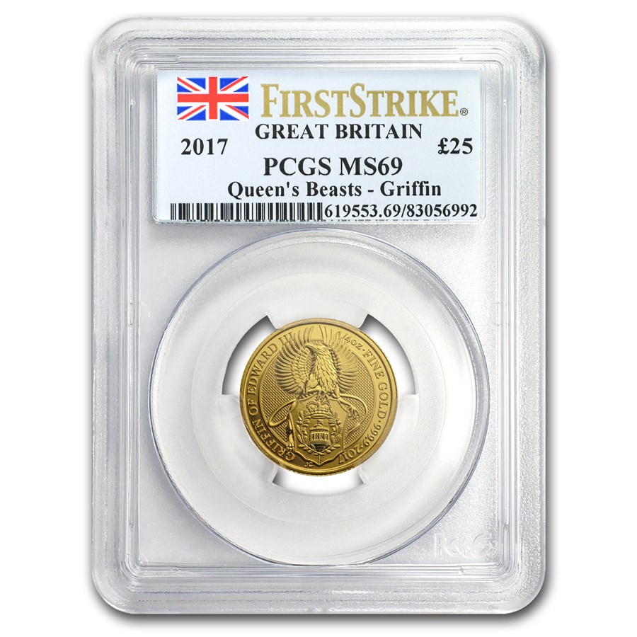 2017 GB 1/4 oz Gold Queen's Beasts The Griffin MS-69 PCGS (FS)