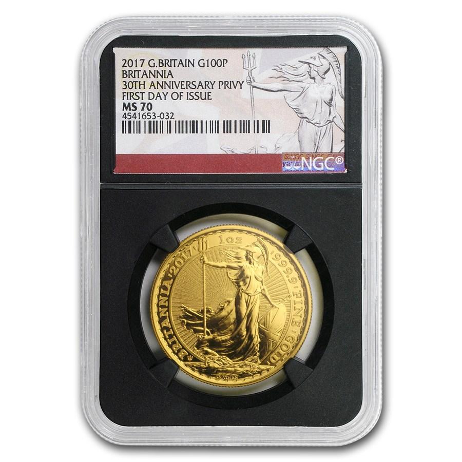2017 GB 1 oz Gold Britannia 30th Anniv MS-70 NGC (First Day)