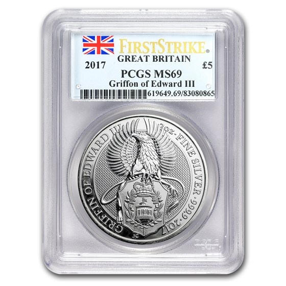 2017 GB 2 oz Silver Queen's Beasts The Griffin MS-69 PCGS (FS)