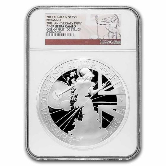 2017 GB 20 oz Silver Britannia Proof PF-69 NGC (w/Box & COA)