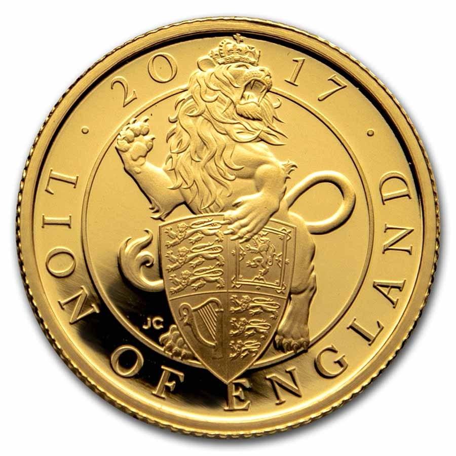 2017 GB Proof 1/4 oz Gold Queen's Beasts Lion (Box & COA)