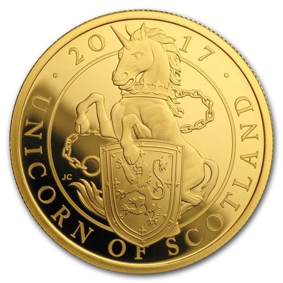2017 GB Proof 1 oz Gold Queen's Beasts Unicorn (w/Box & COA)
