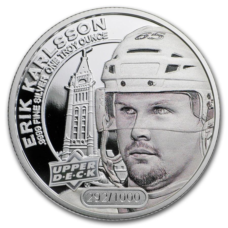2017 Grandeur 1 oz Silver Hockey: Karlsson (High Relief)