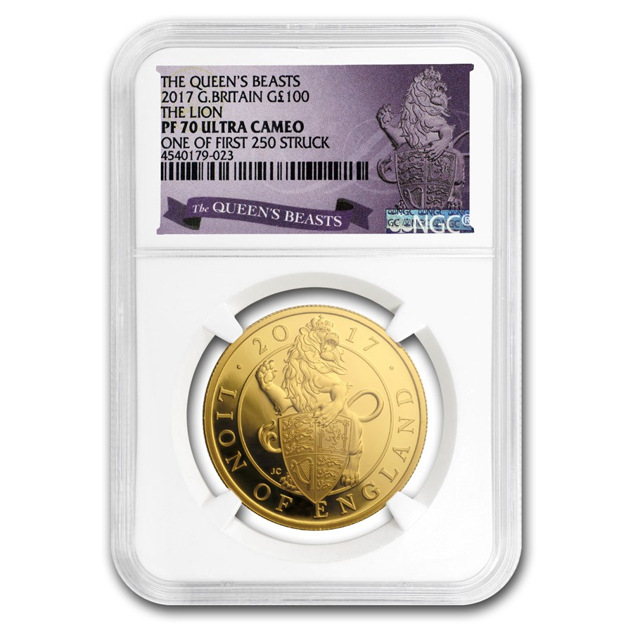 2017 Great Britain 1 oz Gold Queen's Beasts Lion PF-70 NGC