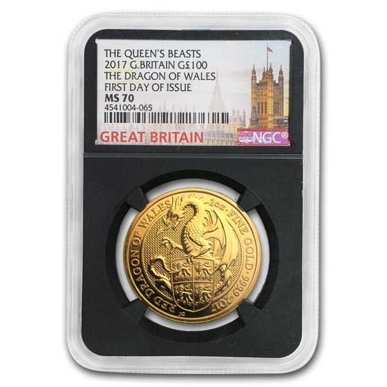 2017 Great Britain 1 oz Gold Queen's Beasts The Dragon MS-70 NGC
