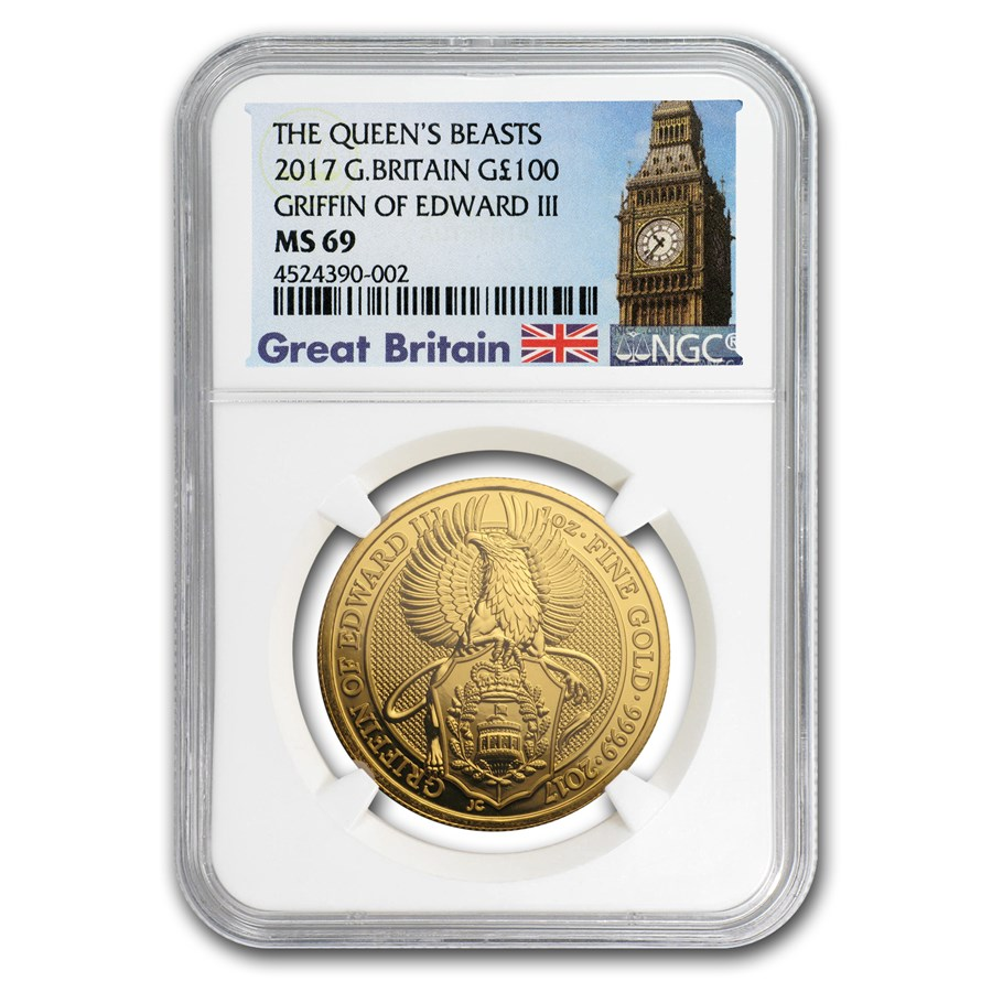 2017 Great Britain 1 oz Gold Queen's Beasts The Griffin MS-69 NGC