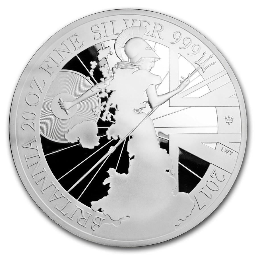 2017 Great Britain 20 oz Silver Britannia 20th Anniv (No Box)