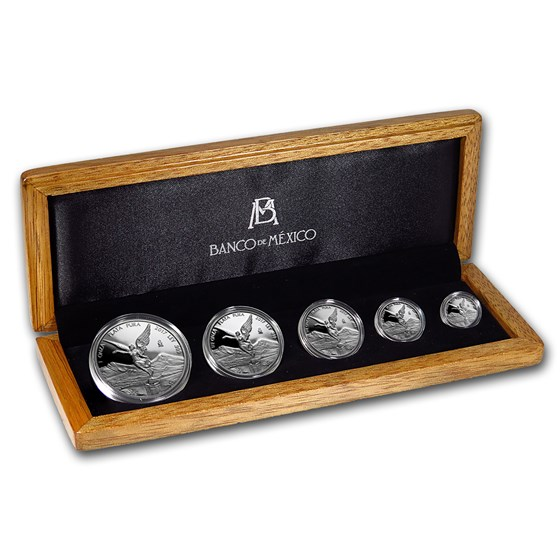 2017 Mexico 5-Coin Silver Libertad Proof Set (1.9 oz, Wood Box)