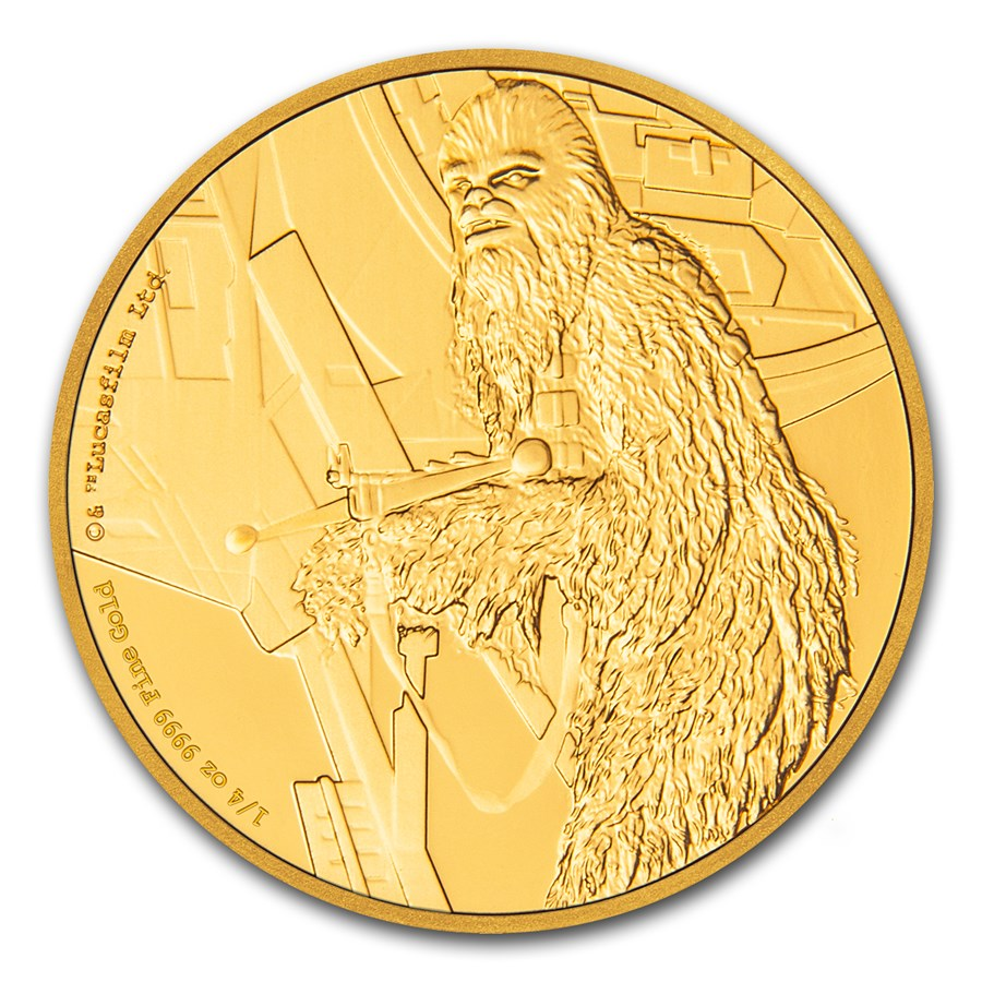 2017 Niue 1/4 oz Gold $25 Star Wars Chewbacca Proof (Box & COA)