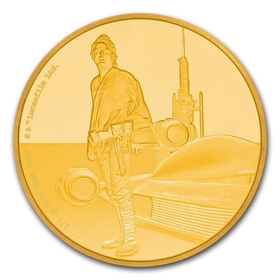 2017 Niue 1/4 oz Gold $25 Star Wars Luke Skywalker Pf (Box & COA)