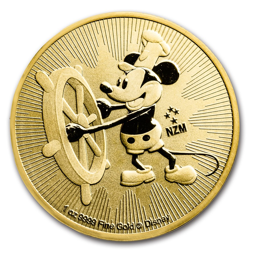 2017 Niue 1 oz Gold $250 Disney Steamboat Willie BU