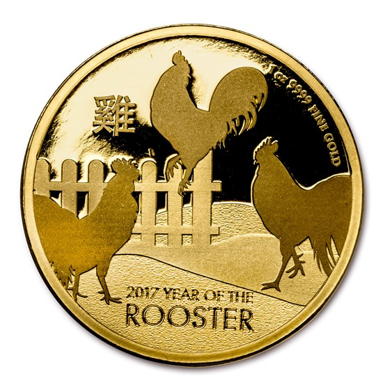 2017 Niue 1 oz Gold $250 Lunar Rooster BU