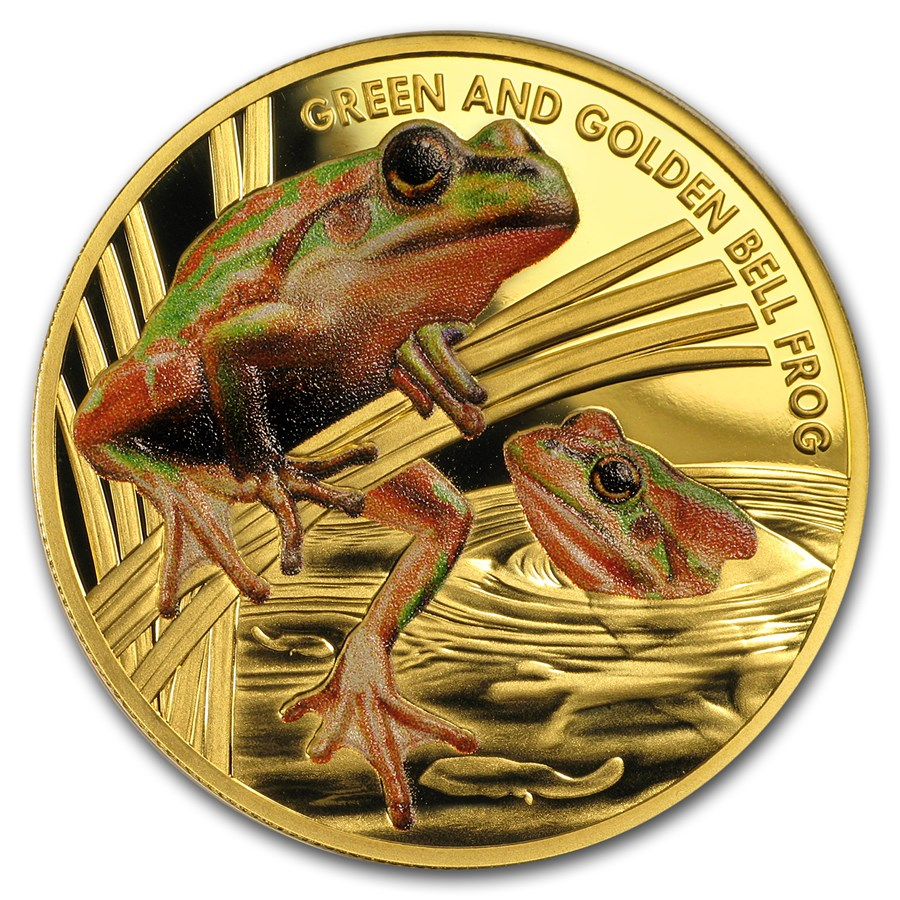 2017 Niue 1 oz Proof Gold Bell Frog Endangered and Extinct