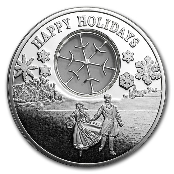 2017 Niue 1 oz Silver $2 Happy Holidays Proof Coin (w/Filigree)