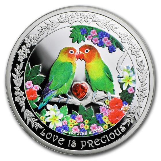 2017 Niue 1 oz Silver $2 Love is Precious Lovebirds