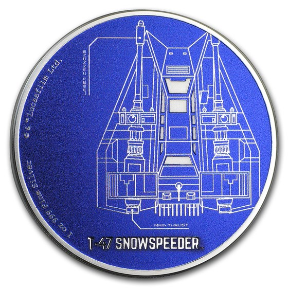 2017 Niue 1 oz Silver $2 Star Wars Ships: T-47 Snowspeeder Proof