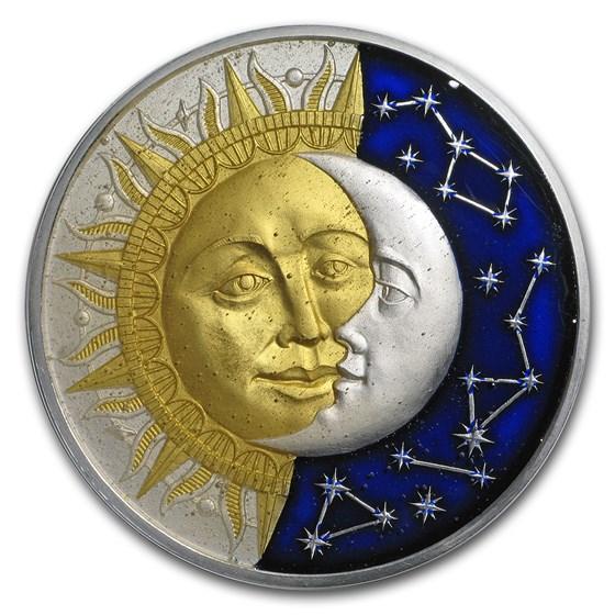2017 Niue 2 oz Antique Finish Silver Celestial Bodies (Sun/Moon)