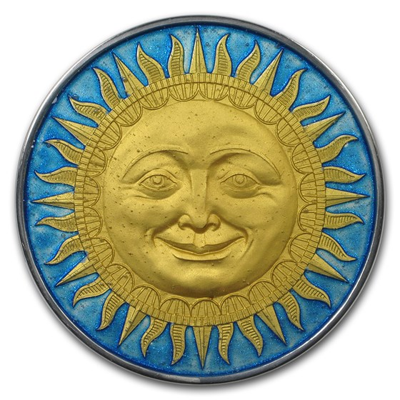 2017 Niue 2 oz Antique Finish Silver Celestial Bodies (The Sun)