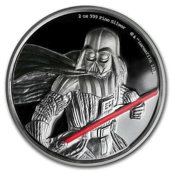 2017 Niue 2 oz Silver $5 Star Wars Darth Vader Ultra High Relief