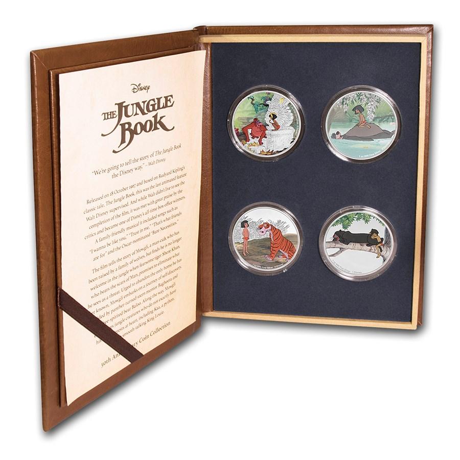 2017 Niue 4-Coin 1 oz Silver $2 Disney The Jungle Book 50th Anniv