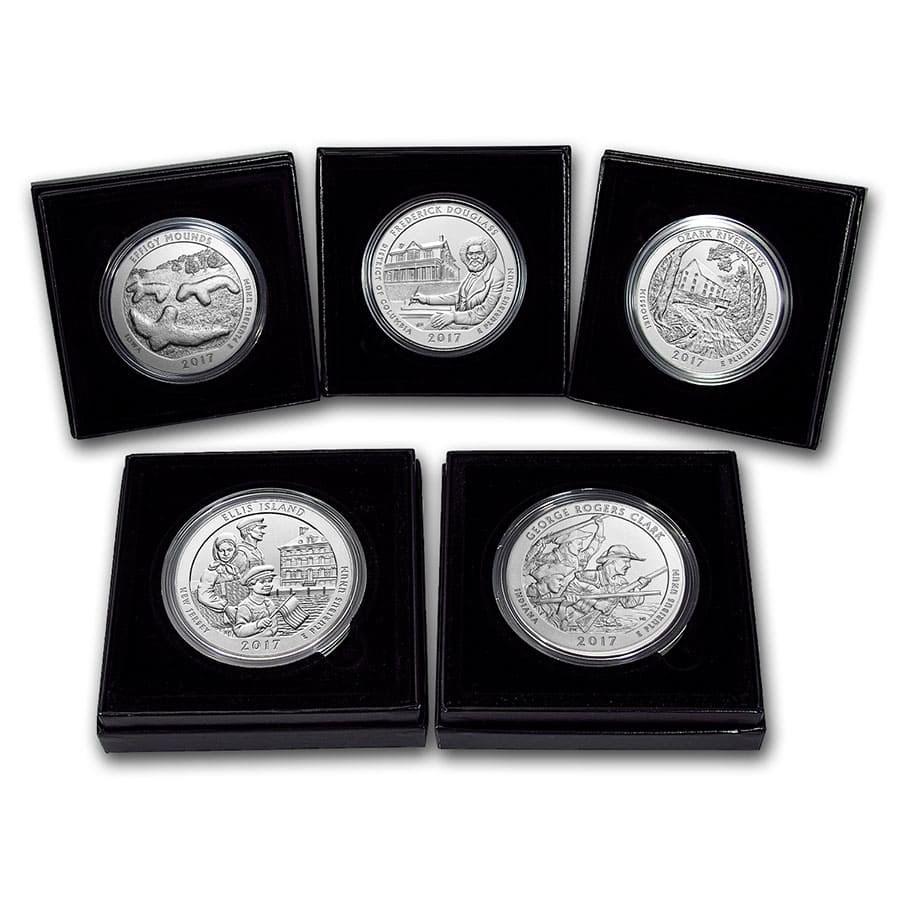2017-P 5-Coin 5 oz Silver Burnished ATB Set (w/Box & COA)