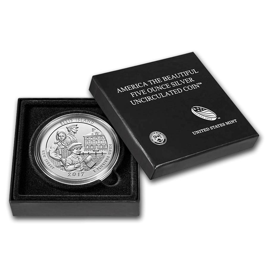 2017-P 5 oz Silver ATB Ellis Island (w/Box & COA)